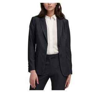 DKNY Womens Notched Lapel Two-Button Blazer Blue